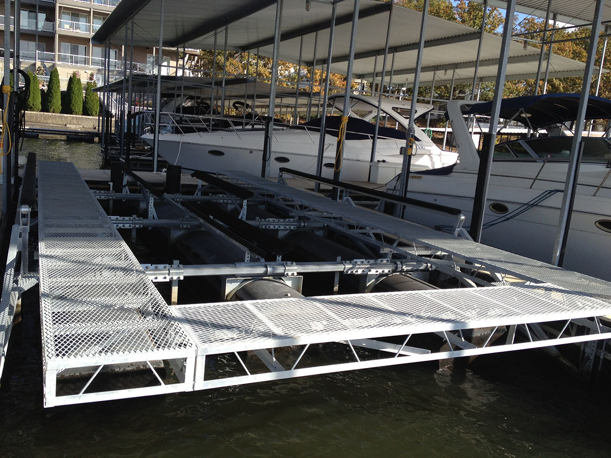 Boat lift walkways